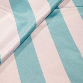 Satin Stripe Aqua/White