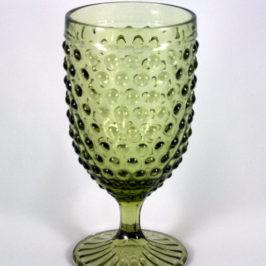 Vintage Hobnail Goblet Green